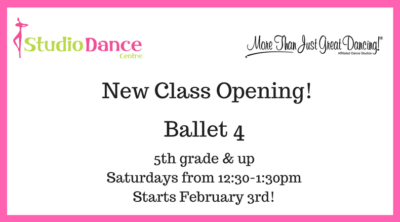 new Saturday Ballet 4 class