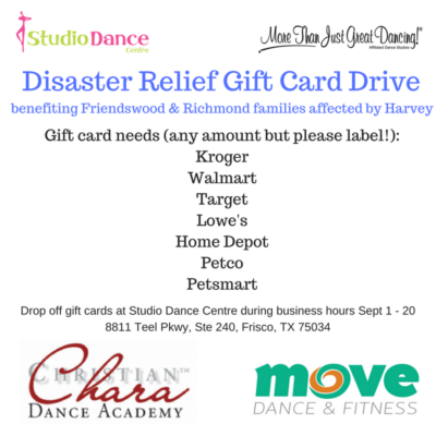 disaster relief gift card drive