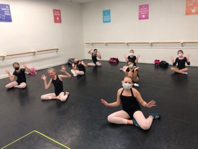 Dancers in masks in class